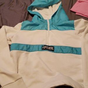 Pink quarter zip sweater with hood